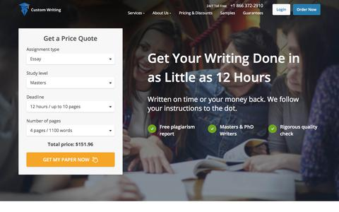 Screenshot of Services Page custom-writing.org - Custom Writing Service | Sale Now On: -9% Off | FREE Quality Check! - captured Jan. 8, 2018