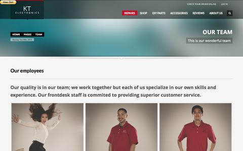 Screenshot of Team Page ktelectronicrepairs.com - KT Electronics : Home of Apple Repairs and major brand electronic repairs - captured Oct. 6, 2014