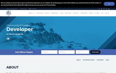 Screenshot of Developers Page siliconslopes.com - Silicon Slopes Developer   Learn   Connect   Serve - captured July 27, 2018