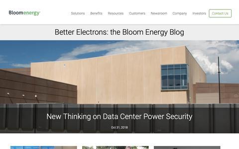 Screenshot of Blog bloomenergy.com - Better Electrons: the Bloom Energy Blog | Bloom Energy - captured Nov. 4, 2018