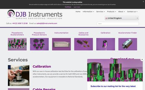 Screenshot of Services Page djbinstruments.com - Services - captured Aug. 5, 2018