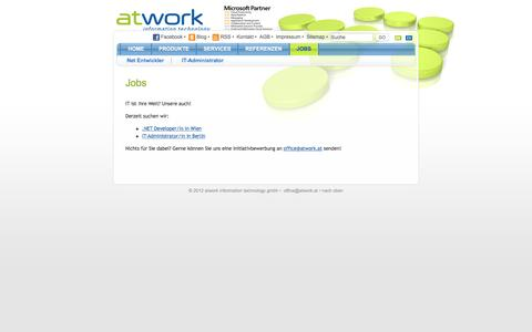Screenshot of Jobs Page atwork.at - atwork - captured April 18, 2016