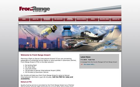 Screenshot of Home Page ftg-airport.com - Front Range Airport - captured Oct. 6, 2014