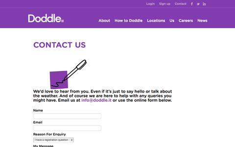 Screenshot of Contact Page idoddle.it - Doddle   The new way to pick up and drop off your parcels - captured Oct. 9, 2014