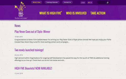 Screenshot of Press Page highfive.org - News | HIGH FIVE - The Best Way to Play - captured Sept. 23, 2014
