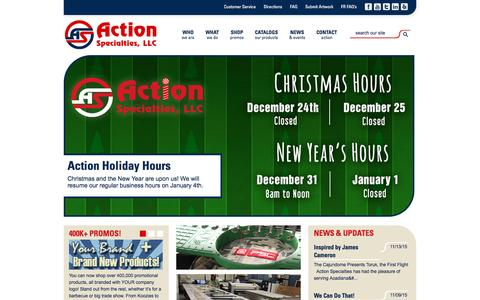 Screenshot of Home Page actionspecialties.com - Action Specialities   Promotional Products, Workwear, Screen Printing, Monogramming, Online Programs - captured Dec. 23, 2015