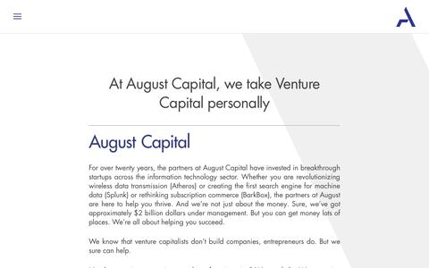 Screenshot of About Page augustcap.com - About - August Capital - captured Oct. 9, 2017