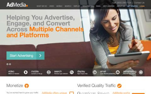 Screenshot of Home Page admedia.com - AdMedia Online Ad Network | Affiliate Advertising Solutions - captured Sept. 19, 2014