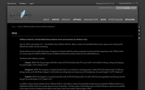 Screenshot of Press Page williamsknife.com - Press   Williams Knife Co News and Press Releases - captured Oct. 9, 2014