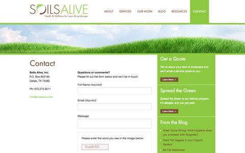 Screenshot of Contact Page soilsalive.com - Contact - Soils Alive, Inc. - Organic Lawn Care - Dallas, TX - captured Oct. 7, 2014