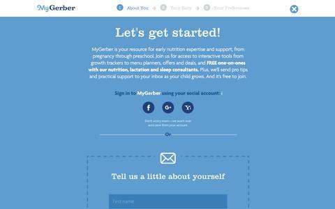 Screenshot of Signup Page gerber.com - Sign Up to MyGerber - captured Dec. 24, 2016