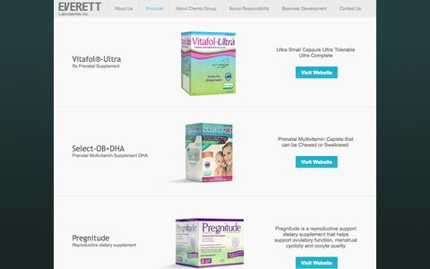 Screenshot of Products Page everettlabs.com - Products | Everett Laboratories Inc. - captured Oct. 3, 2014