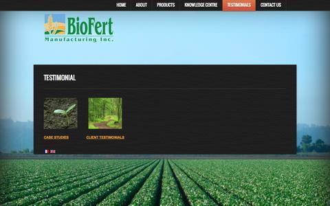 Screenshot of Testimonials Page biofert.net - Testimonial - captured Oct. 27, 2014