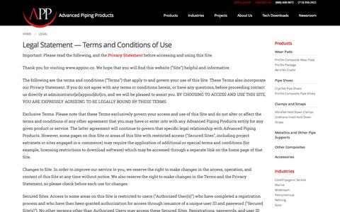 Screenshot of Terms Page appinc.co - Legal Statement | Advanced Piping Products - captured Nov. 2, 2014