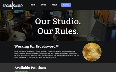 Screenshot of Jobs Page broadsword.com - Broadsword Online Games - captured Oct. 5, 2014