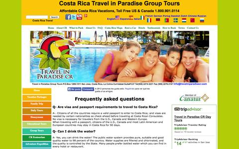 Screenshot of FAQ Page travelinparadisecr.com - Costa Rica Frequently asked questions - Travel in Paradise CR - captured Oct. 7, 2014