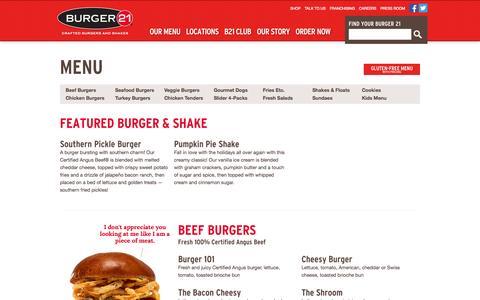 Screenshot of Menu Page burger21.com - Menu | Burger 21 - captured Oct. 29, 2014