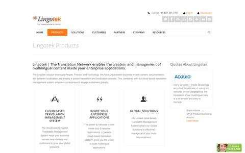 Screenshot of Products Page lingotek.com - Lingotek Cloud-Based Translation Management System | Lingotek - captured Sept. 16, 2014