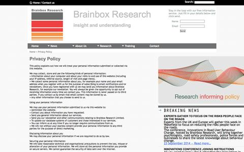 Screenshot of Privacy Page brainboxresearch.com - Brainbox Research - Qualitative Research, Quantitative Research, Marketing and Training - captured Sept. 30, 2014