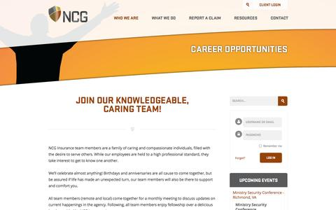 Screenshot of Jobs Page ncginsurance.com - Career Opportunities | NCG Insurance - captured Sept. 30, 2014