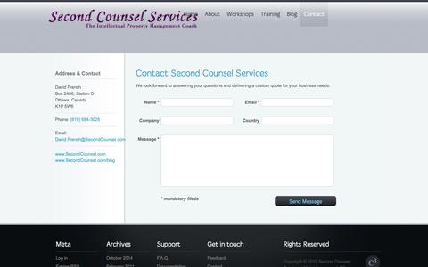 Screenshot of Contact Page secondcounsel.com - Second Counsel Services |   Contact - captured Oct. 6, 2014