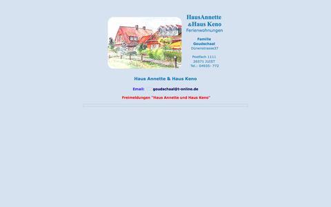 Screenshot of Home Page keno-juist.de - Haus Annette Haus Keno - Juist - Familie Goudschaal - captured June 9, 2016
