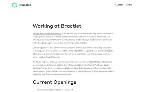 Screenshot of Jobs Page bractlet.com - Careers — Bractlet - captured March 12, 2019
