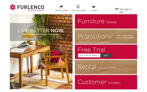 Screenshot of Home Page furlenco.com - Home Furniture Rental | Furlenco | Bangalore, India - captured Jan. 28, 2015