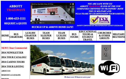 Screenshot of Home Page abbottbus.com - Abbott Trailways - Charter Bus Rentals for Virginia & North Carolina.  Custom Tour Packages USA & Canada - captured Oct. 4, 2014