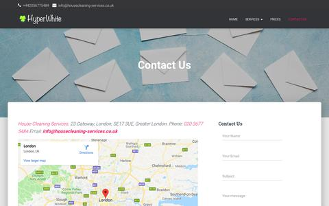 Screenshot of Contact Page housecleaning-services.co.uk - Contact Us - Hyper White House Cleaning Services - captured Oct. 3, 2019