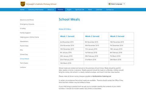 Screenshot of Menu Page stjosephs775.herts.sch.uk - School Meals | St Joseph's Catholic Primary School - captured March 12, 2016