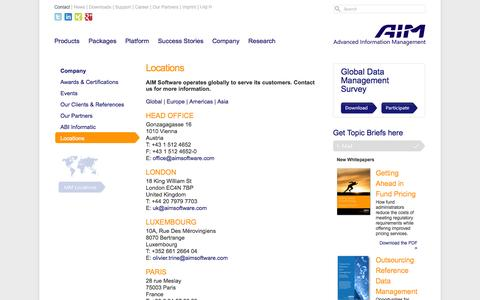 Screenshot of Locations Page aimsoftware.com - Locations - AIM Software For EDM software's - captured Sept. 19, 2014