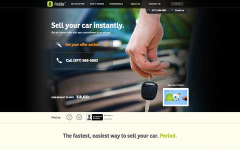 Screenshot of Home Page peddle.com - Sell Your Car Instantly | Peddle - captured Sept. 24, 2014