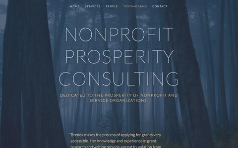 Screenshot of Testimonials Page npprosperity.net - Testimonials — Nonprofit Prosperity Consulting - captured Feb. 15, 2016