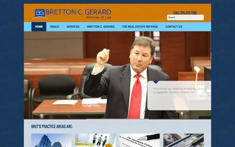 Screenshot of Home Page brettongerardlaw.com - :: Bretton Gerard Law Firm - captured Sept. 30, 2014