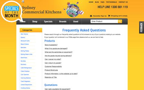 Screenshot of FAQ Page sydneycommercialkitchens.com.au - Frequently Asked Questions | Sydney Commercial Kitchens - captured Aug. 9, 2017