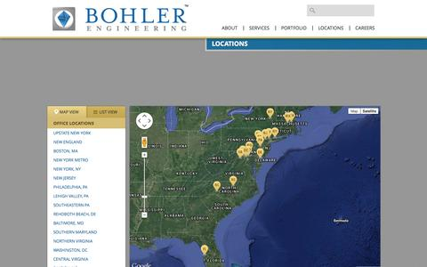 Screenshot of Contact Page Locations Page bohlerengineering.com - Bohler Engineering | Locations - captured Oct. 23, 2014