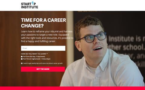 Screenshot of Landing Page startupinstitute.com - Guide to Career Change - captured Oct. 29, 2016