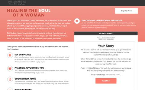 Screenshot of Landing Page joycemeyer.org - Healing the Soul of a Woman with Joyce Meyer - captured March 23, 2017