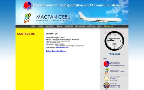 Screenshot of Contact Page mciaa.gov.ph - CONTACT US - captured Oct. 4, 2014