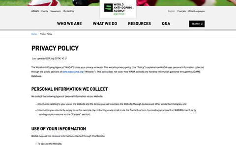 Screenshot of Privacy Page wada-ama.org - Privacy Policy | World Anti-Doping Agency - captured Aug. 23, 2016
