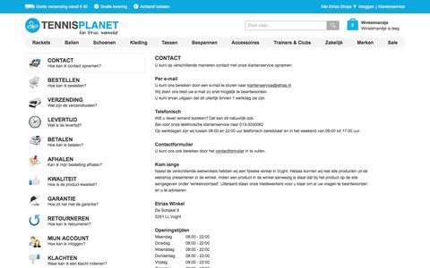 Screenshot of Privacy Page Contact Page tennisplanet.nl - Veelgestelde Vragen | Tennisplanet.nl - captured April 2, 2017