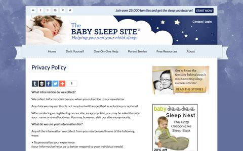 Screenshot of Privacy Page babysleepsite.com - Privacy Policy | The Baby Sleep Site - Baby / Toddler Sleep Consultants - captured Jan. 15, 2016