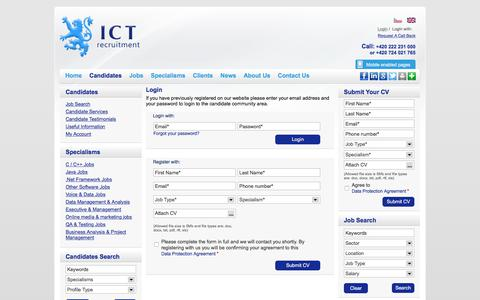 Screenshot of Login Page ictrecruit.com - Login - ICT Recruitment - captured Sept. 29, 2017