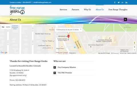 Screenshot of About Page freerangegeeks.com - About Us - captured Aug. 4, 2016