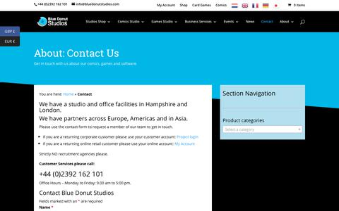 Screenshot of Contact Page bluedonutstudios.com - Contact   Blue Donut Studios - UK - captured Dec. 7, 2018