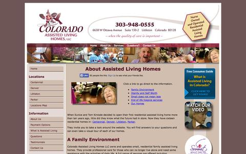 Screenshot of About Page coloradoassistedliving.com - About Assisted Living   Colorado Assisted Living Homes - captured Oct. 3, 2014