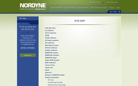 Screenshot of Site Map Page nordyne.com - Easily Navigate Through NORDYNE.com by Using the Helpful Site Map - captured Sept. 30, 2014