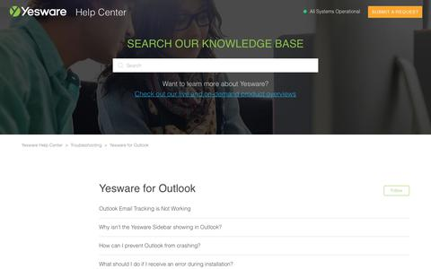 Screenshot of Support Page yesware.com - Yesware for Outlook – Yesware Help Center - captured July 12, 2019