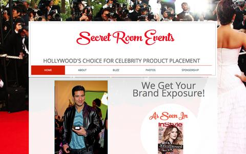 Screenshot of Home Page secretroomevents.com - Secret Room Events Celebrity Gifting - captured Oct. 5, 2017